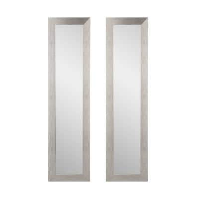 Oversized Rectangle Silver 2 Piece Mirror (71 in. H x 16 in. W)
