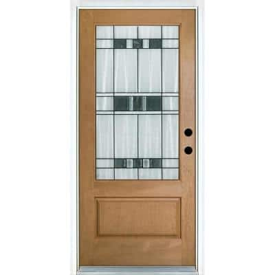 36 in. x 80 in. Savana Light Oak Left-Hand Inswing 3/4 Lite Decorative Fiberglass Prehung Front Door