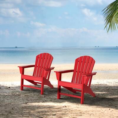 Red HDPE Plastic Adirondack Chairs (2-Pack)