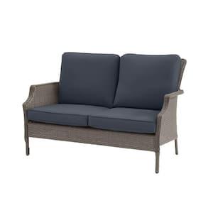 Grayson Ash Gray Wicker Outdoor Patio Loveseat with CushionGuard Sky Blue Cushions