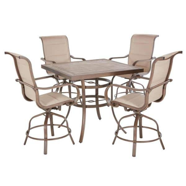 Home Decorators Collection Sun Valley 5 Piece Aluminum Outdoor Patio Bar Height Dining Set In Sunbrella Sling 521 0442 000 The Home Depot