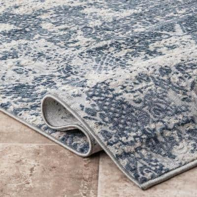 Wilde Tribal Distressed Blue 5 ft. x 8 ft. Area Rug