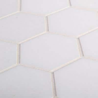 Dream Hex White 10.875 in. x 9.5 in. Honed Marble Wall and Floor Mosaic Tile (0.717 sq. ft./Each)