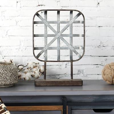 Galvanized Galvanized Metal Table Top Sculpture