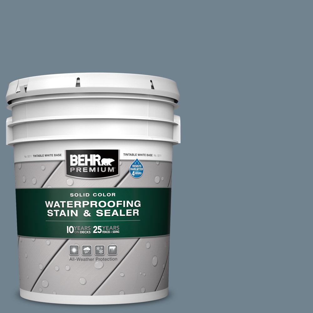 5 gal. #N480-5 Adirondack Blue Solid Color Waterproofing Exterior Wood Stain and Sealer