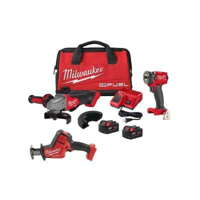 M18 FUEL 18-Volt Lithium-Ion Brushless Grinder & 3/8 in. Impact Wrench Combo Kit (2-Tool) w/HACKZALL Reciprocating Saw