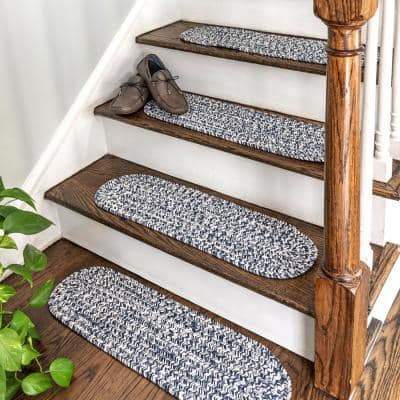 Light Blue 8 in. x 28 in. Oval Stair Treads Braided Lefebvre Indoor/Outdoor