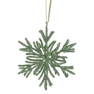 7.5 in. Green Glitter Snowflake Christmas Ornament