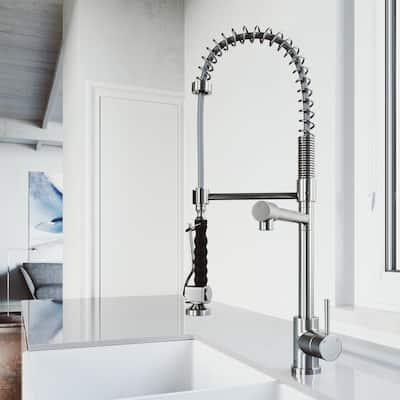 Zurich Single-Handle Pull-Down Sprayer Kitchen Faucet in Stainless Steel