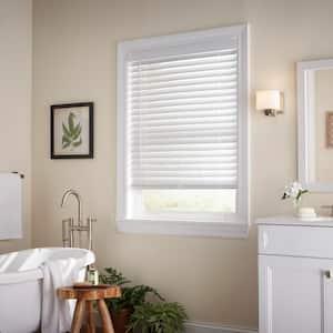 White Cordless Room Darkening 2 in. Faux Wood Blind for Window - 59 in. W x 64 in. L