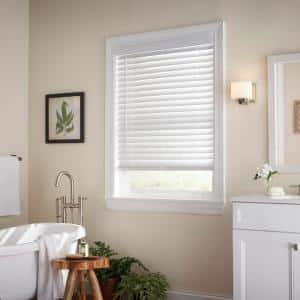 White Cordless Room Darkening 2 in. Faux Wood Blind for Window - 25 in. W x 64 in. L