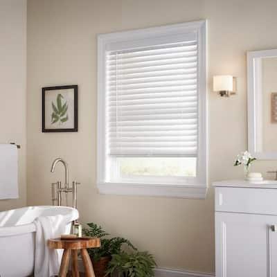 White Cordless Room Darkening 2 in. Faux Wood Blind for Window - 29 in. W x 64 in. L