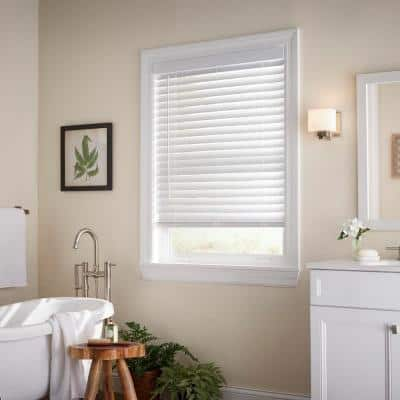 White Cordless Room Darkening 2 in. Faux Wood Blind for Window - 58.5 in. W x 64 in. L