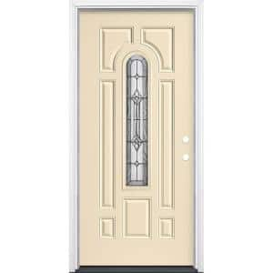 36 in. x 80 in. Providence Center Arch Golden Haystack Left Hand Inswing Painted Steel Prehung Front Door with Brickmold