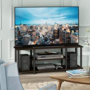 Turn-N-Tube 44 in. Dark Brown and Black Particle Board TV Stand Fits TVs Up to 55 in. with Cable Management
