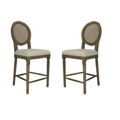 Louis 24 in. Weathered Round Back Wood Frame Bar Stool with Cane and Beige Upholstered Seat (Set of 2)