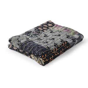 Kantha Gray Haze Quilted Vintage Boho Cotton Throw Blanket