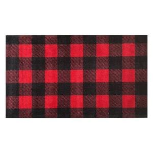 In-Home Washable/Non-Slip Buffalo Plaid Red 2 ft. 3 in. x 3 ft. 11 in. Area Rug & Mat
