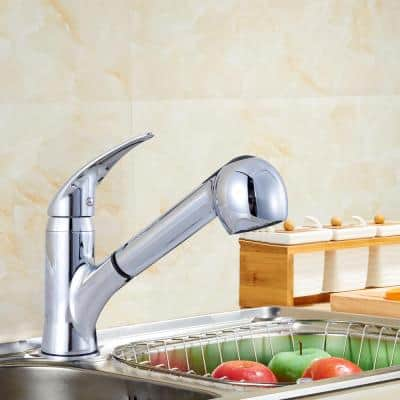 Upscale Designs Single-Handle Pull-Down Sprayer Kitchen Faucet in Polished Chrome