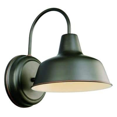 Mason Industrial Modern 1-Light Wall Mount 8-inch Light with Metal Shade for Porch Entryway Barn, Oil Rubbed Bronze