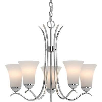 Alesia 5-Light Polished Nickel Chandelier with White Frosted Glass Shade