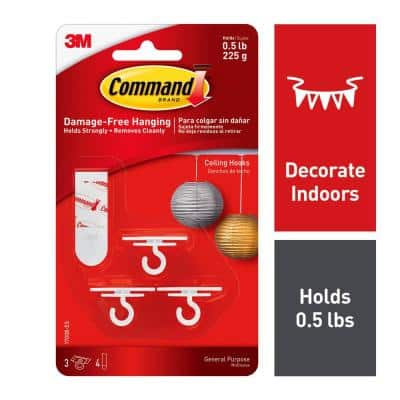 Ceiling Hooks (3 Hooks, 4 Adhesive Strips)