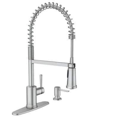 Indi Single-Handle Pre-Rinse Spring Pulldown Sprayer Kitchen Faucet with Power Clean in Spot Resist Stainless