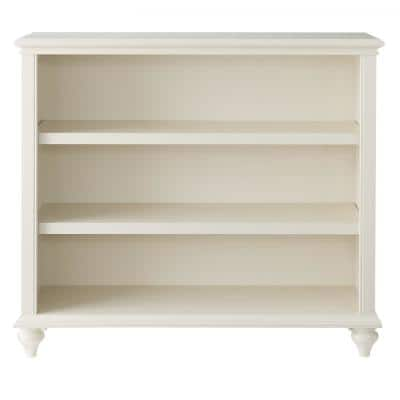 36 in. Polar White Wood 3-shelf Accent Bookcase with Adjustable Shelves