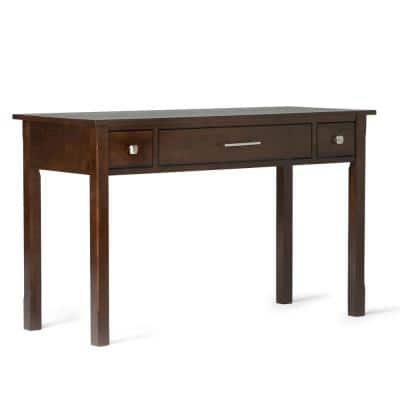 47 in. Rectangular Dark Tobacco Brown 2 Drawer Writing Desk with Solid Wood Material