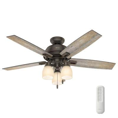 Donegan 52 in. Indoor Onyx Bengal Ceiling Fan With LED Light Kit and Remote