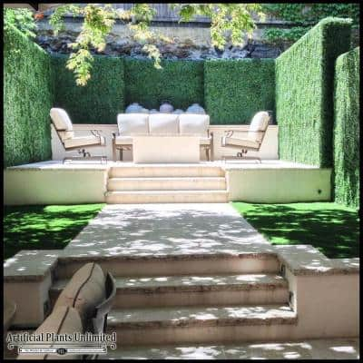 Gorgeous Home Artificial Boxwood Hedge Greenery Panels DarkGreen 20 in. x 20 in. (6-Piece)