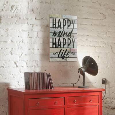 15 in. x 10 in. Happy Mind Wooden Wall Art