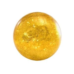 Lumabase Battery Operated Golden Crackle Glass Globe Light Deals