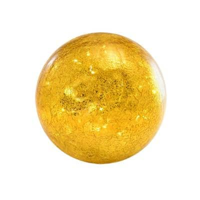 Battery Operated Golden Crackle Glass Globe Light with Fairy String Lights