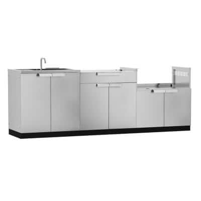 Stainless Steel 3-Piece 97 in. W x 36.5 in. H x 24 in. D Outdoor Kitchen Cabinet Set without Counter Tops