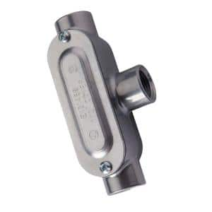 1/2 in. Rigid Type T Threaded Conduit Body with Cover and Gasket