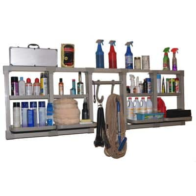 4 in. D x 24 in. H x 80 in. W Heavy Duty Pvc Garage Wall Shelf Kit in Gray Brackets and 8-Adjustable Shelves