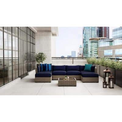 Commercial Grade 29.33x29.33x5.12 in.Left/Right Arm or Corner Outdoor Patio Sectional Chair Cushion in Sunbrella Navy