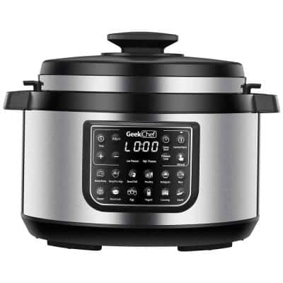 8 Qt. Stainless Steel 12-in-1 Multiuse Programmable Electric Pressure Cooker with Non-Stick Pot and Cool-Touch Handles