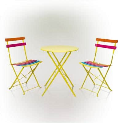 Indoor/Outdoor 3-Piece Bistro Set Folding Table and Chairs Patio Seating, Rainbow