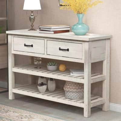 45 in. White Standard Rectangle Wood Console Table with Drawers and 2-Shelves