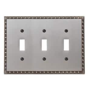 Antiquity 3 Gang Toggle Metal Wall Plate - Antique Nickel
