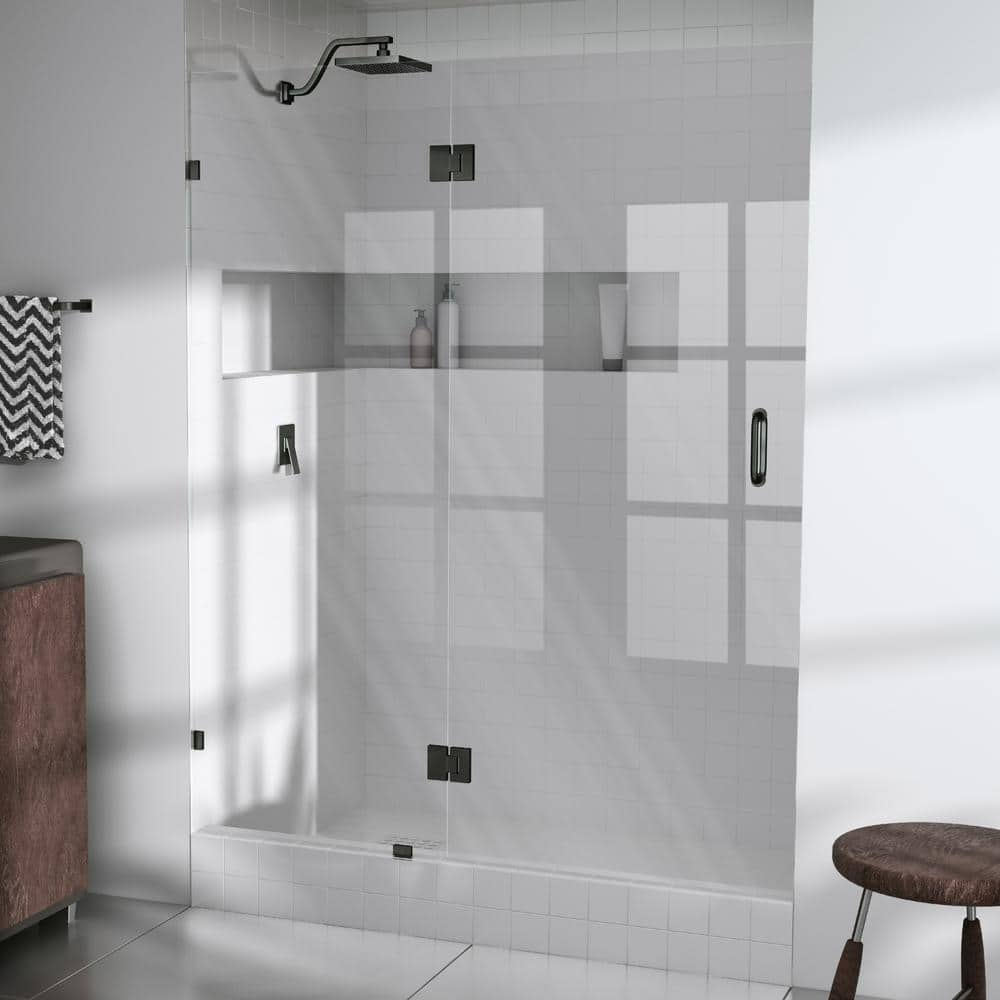 Glass Warehouse 44 75 In X 78 In Frameless Glass Pivot Hinged Shower Door In Oil Rubbed Bronze Gw Gh 44 75 Orb The Home Depot