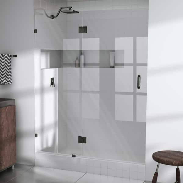 Glass Warehouse 45 25 In X 78 In Frameless Glass Pivot Hinged Shower Door In Oil Rubbed Bronze Gw Gh 45 25 Orb The Home Depot