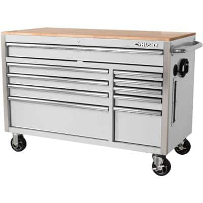 52 in. W x 24.5 in. D 10-Drawer White Mobile Workbench with Solid Wood Top