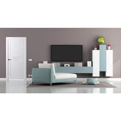 30 in. x 80 in. Siah Bianco Noble Finished Frosted Glass 5-Lite Solid Core Wood Composite Interior Door Slab No Bore