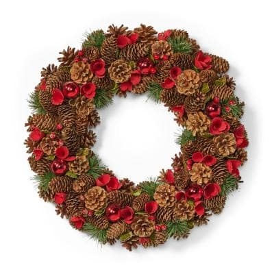 18.5 in. Natural Brown and Red Glitter Unlit Artificial Christmas Wreath with Pine Cones