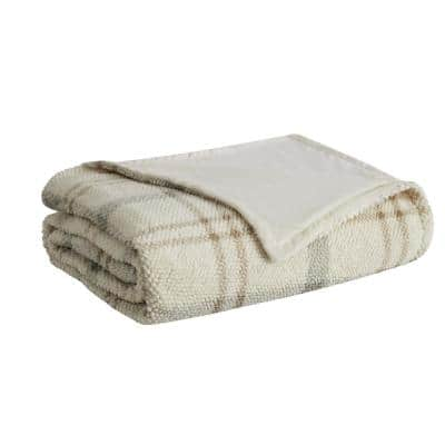 Popcorn Plaid Plush 50 in. x 60 in. Grey/Neutral Throw