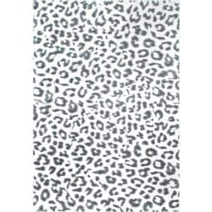 Leopard Print Gray 4 ft. x 6 ft. Area Rug