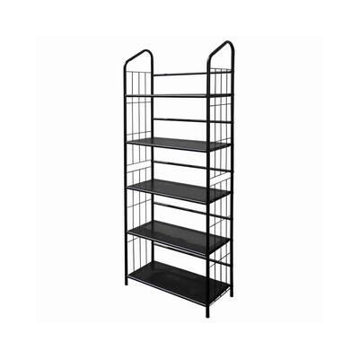 Industrial Style 64 in. H Black 5-Tier Open Frame Metal Bookshelf